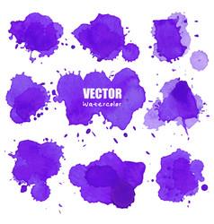 Set of splash purple watercolor splash vector