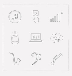 set of studio icons line style symbols with bass vector image
