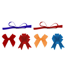 set realistic bow for holidays colored vector image