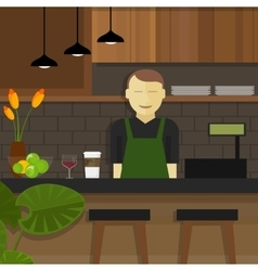 Shop cafe assistant waitress behind cashier owner vector