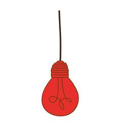 Silhouette of red light bulb pendant vector