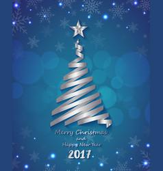 Silver ribbon make Christmas tree shape vector image
