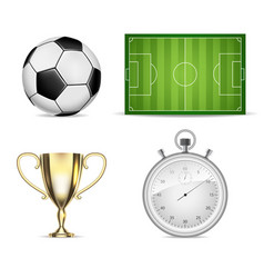soccer set icons with field ball cup and vector image