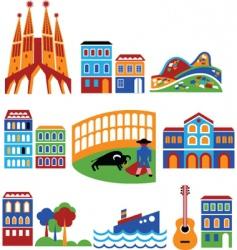 Spain landmarks vector