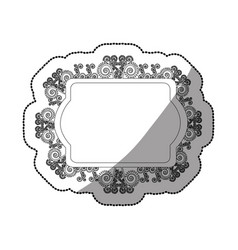 Sticker monochrome oval rectangle heraldic baroque vector
