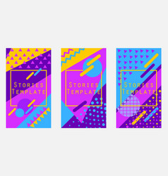 Stories template memphis style geometric objects vector