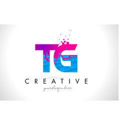 Tg t g letter logo with shattered broken blue vector
