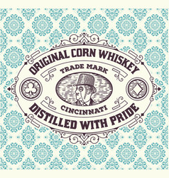 vintage frame and label for whiskey product you vector image