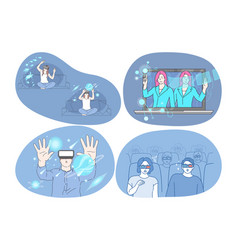 virtual reality and cyberspace through 3d glasses vector image
