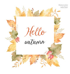 Watercolor square frame of leaves vector