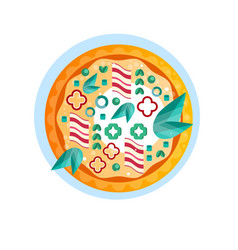 Whole hot delicious pizza with ham pepper onion vector