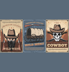 Wild west cowboy skull hats guns and wagon cart vector