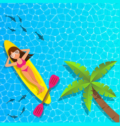 Woman relaxing and enjoying on cannu boat vector