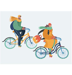 Young couple are riding bikes in cold weather vector