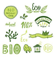 badges label logo set green ribbons plants vector image
