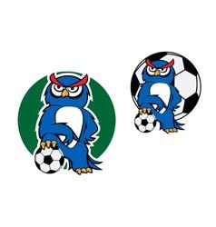 Cartoon owl character with football ball vector image