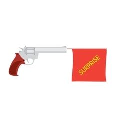 cartoon pistol with small flag vector image vector image