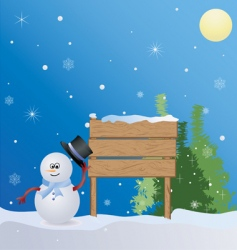 Christmas place with snowman vector image