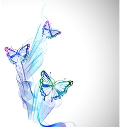 Colorful background with watercolor butterfly and vector image vector image