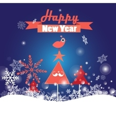 Greeting Christmas card with trees and bird vector image