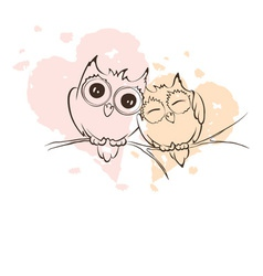 Love owls on a branch vector image vector image