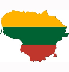 Map of Lithuania with national flag vector image