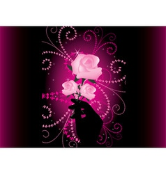 roses in hand vector image
