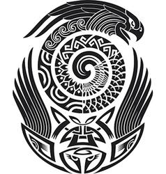 Snake-bird tattoo pattern vector image vector image