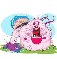 zombie pink rabbit vector image