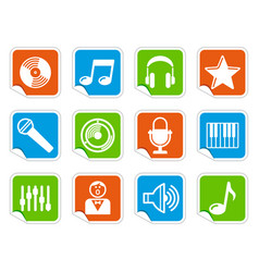 audio and music icons on stickers vector image vector image