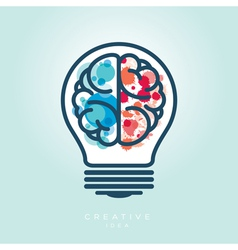 Creative Light Bulb Left and Right Brain Idea Icon vector image