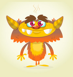 happy cartoon orange and fluffy monster vector image