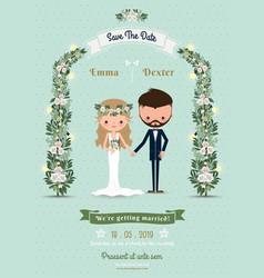 Hipster wedding invitation card bride groom vector image vector image