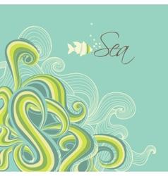 Retro sea waves marine background vector image