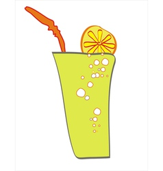 A glass of a drink with lemon slice and a straw vector image