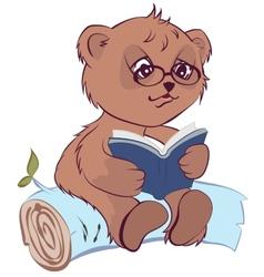 Bear reading book vector image vector image