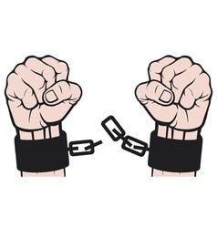 hand broken chains vector image vector image