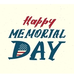 Happy memorial day Us flag symbol lettering text vector image vector image