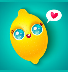 kawaii lemon on bright background vector image vector image