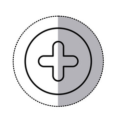 monochrome contour circular sticker with plus icon vector image