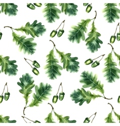 Oak leaf and acorn watercolor seamless pattern vector image vector image