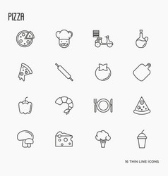 pizza cooking related thin line icons vector image vector image