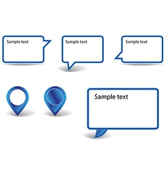 Set of blue pointers on white background with vector image