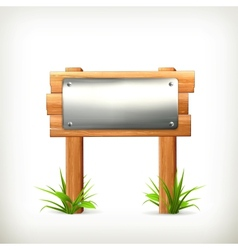 Signboard metal and wood vector image