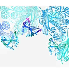 Colorful background with butterfly and floral vector image