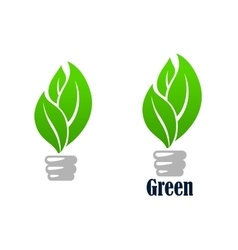 Green light bulb with leaves vector image