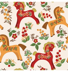 Seamless pattern with folk horses vector