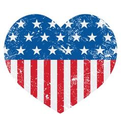 USA America retro heart flag - vector image