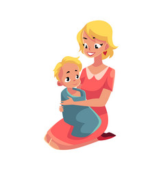 Young mother holding her baby wrapped in towel vector