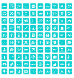 100 activity icons set grunge blue vector